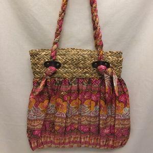 Cappelli Straworld Straw Woven Hobo Floral Handbag